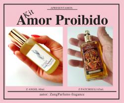 Kit AMOR PROIBIDO;  C/  Perf. z. PATCHOULI, z. ANGEL 65/60ml.